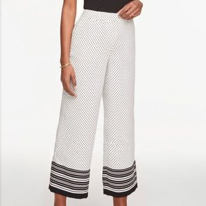 Dotted drapey wide leg cropped crop pants NEW NWT